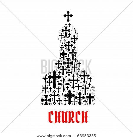 Church icon. Religion cross christianity symbols in shape of temple, monastery for religious decoration emblem and design elements