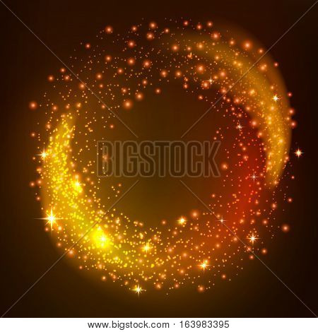 Sparkling gold glitter particles whirl. Golden star dust of twinkling stars. Shining galaxy space. Glow light swirl effect on black background