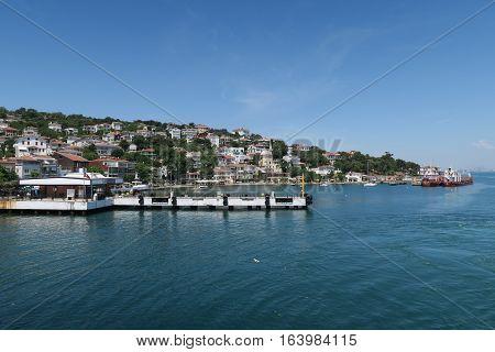 Port of Burgazada, one of the Prince Islands in the Marmara Sea, near Istanbul, Turkey. As seen from a Ferry to Buyukada.