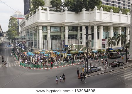 BANGKOK THAILAND - DEC 31 : scene of Ratchaprasong Junction at Erawan shrine corner while new year festival on december 31 2016 thailand. Ratchaprasong is most activities area of Bangkok