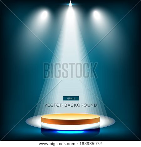 gold stage with spotlight deep Blue sea background vector