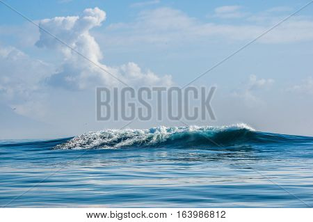 Seascape.  Clouds Sky, Waves With Splashes. False Bay. South Africa.