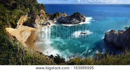 Mcway Falls Is An 80 Feet Waterfall That Flows Year-round From Mcway Creek In Julia Pfeiffer Burns S