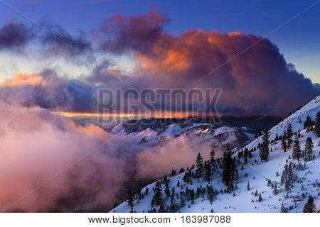 Sunrise In Winter On Slide Mountain Near Reno, Nv On The Mt. Rose Highway. Colorful Clouds And Snowy