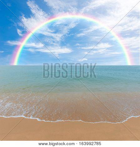 Colorful Rainbow Over A Tropical Beach Of Andaman Sea, Thailand