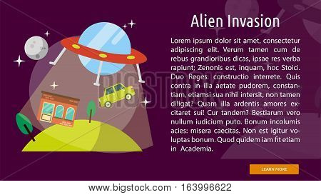 Alien Invasion Conceptual Banner | Great flat illustration concept icon and use for space, universe, galaxy, astrology and much more.