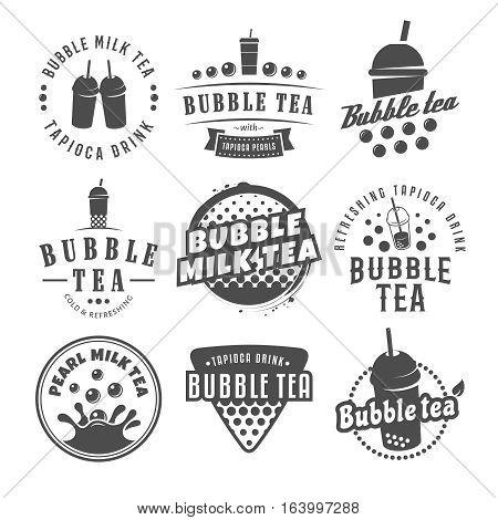 Vector bubble tea logos. Set of pearl tea labels. Popular asian drink badges