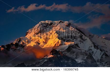 Sunset in Himalaya, Annapurna South