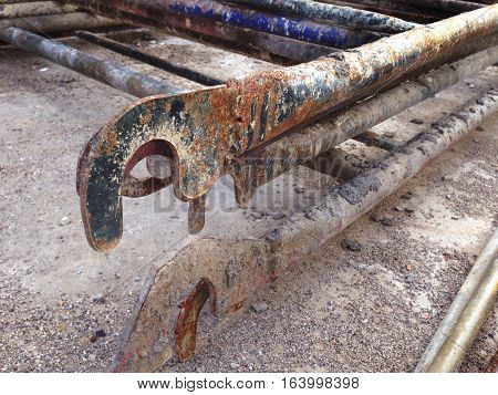old rust pile of scaffolding close up