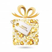 Valentines Day Vector Greeting Card. Gift Box With 3D Gold Heart Diamonds, Gems, Jewels, Bow Ribbon, poster