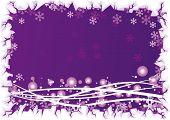 Постер, плакат: Пузыри с волнами фиолетовый фон и льда границы