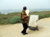 Tourist Reading Instructions About A Stone/Ruin poster