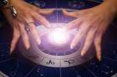 female hands above magic sphere for divination