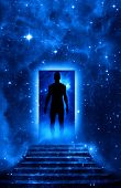 mystical door and stairs with man silhouette entering in Universe like a symbol of spiritual philoso