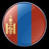 stock photo of ulaanbaatar  - Mongolia Flag Button - JPG
