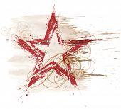 Постер, плакат: Векторная Иллюстрация гранж акварель звезда & цветочный орнамент