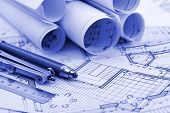 stock photo of blueprints  - rolls of blueprints  - JPG