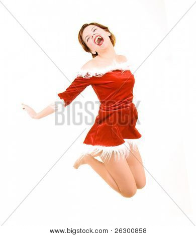 jumping christmas girl