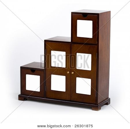 stylish wooden cabinet over white background
