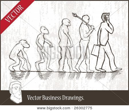 Vector illustration. Evolution from monkey to businessman.