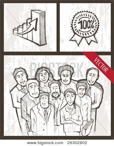 Vector set. Portrait of a multi ethnic business team.