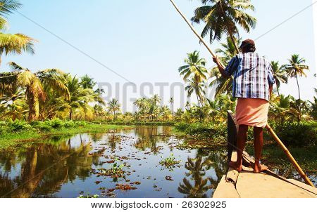 Houseboat tour through the backwaters of Kerala, India