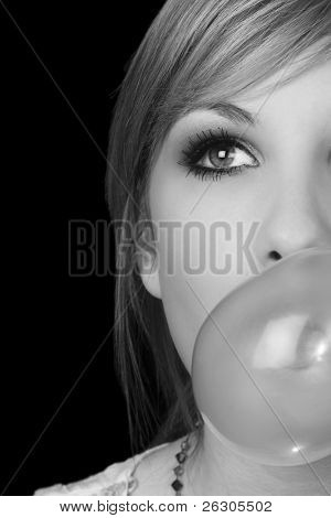 teenage girl blowing bubblegum, converted to black and white