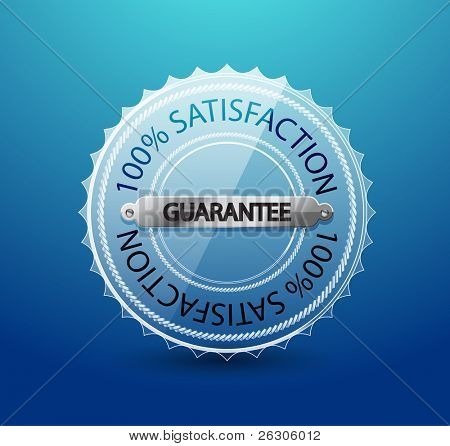 Vector transparent glass guarantee label