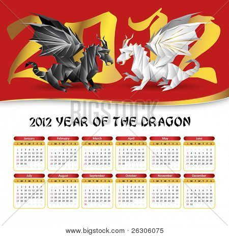 2012 calendar with origami dragons fight - white, red, yellow colors - RASTER version