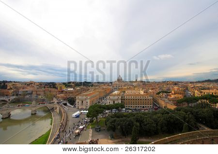 Saint Peter's Basilica,wide panoramic view, Rome, Italy