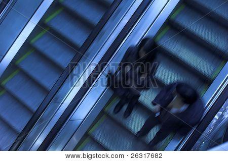 Mooving escalators in airport