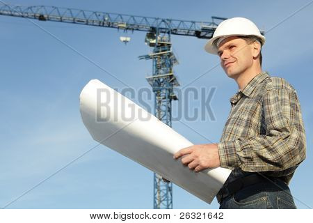 Constructor in hardhat with blueprints against modern crane
