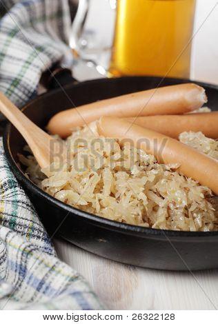 Sausages and Bavarian kraut with caraway