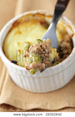 Cottage pie in the ramekin closeup