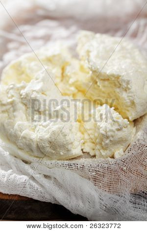 Cottage cheese on the cheesecloth closeup