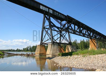 View of river and a train tressel with graffiti written on it.