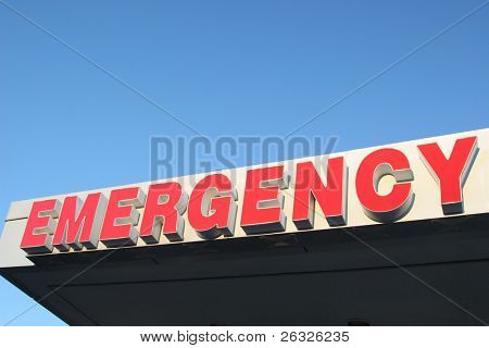 Emergency sign above an emergency entrance of a hospital.