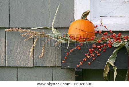 ein wenig Kürbis, einige Maisstroh und Beeren als Dekoration im Fenster verwendet.
