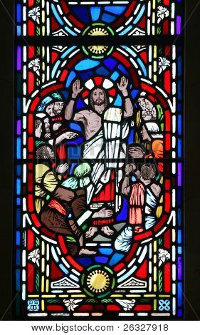 The Risen Christ and his disciples. Detail of a stained glass window in the Anglican Bermuda Cathedral built in 1866. Located in Hamilton.