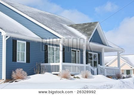 A family home in the suburbs on a sunny winter day.