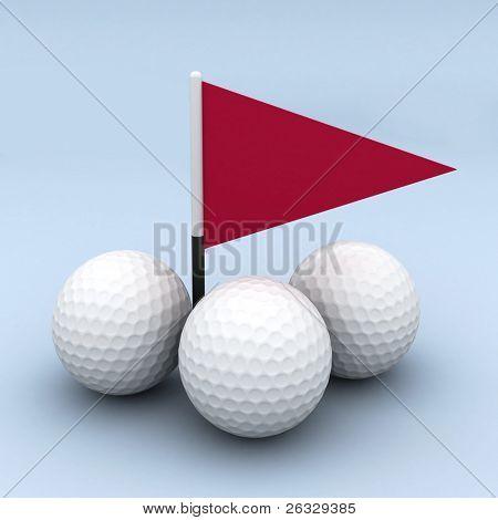 Three golf balls and a flag.