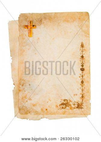 Em branco papel religioso, pergaminho com ornamentos.