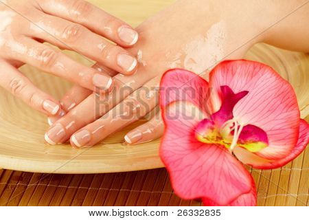 Elegance woman hands on spa treatment