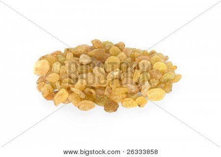 Pile of  raisins close up isolated on white