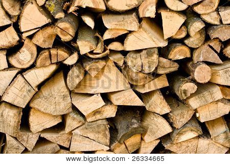 Firewood pile close up