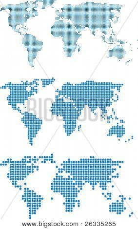 Dotted (3 size) world maps - vector