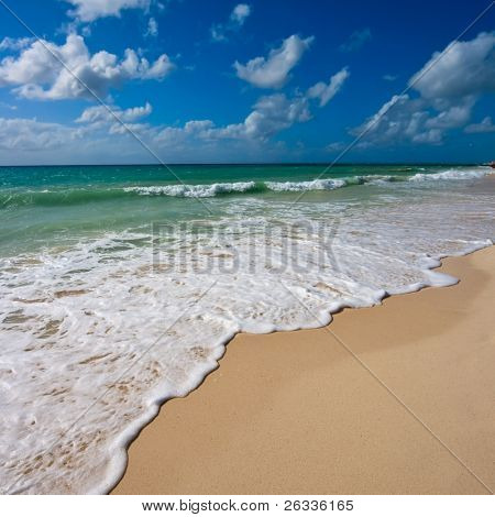 Beautiful beach and  waves of Caribbean Sea. Search for more great beach images in my portfolio