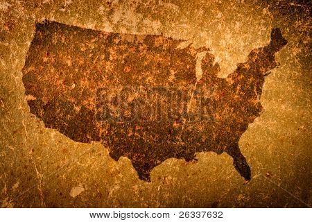 Old grunge map of United States of America