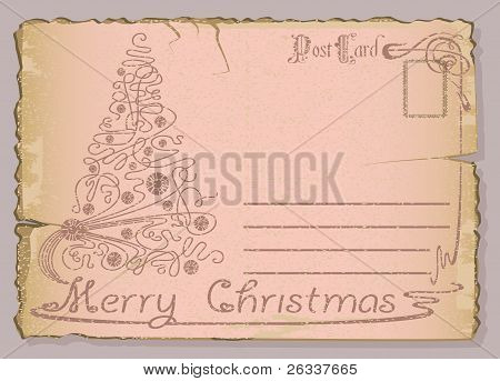 Vintage postcard with Christmas and New Years.