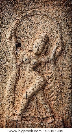 Bas reliefs in Hindue temple. Brihadishwarar Temple. Thanjavur, Tamil Nadu, India